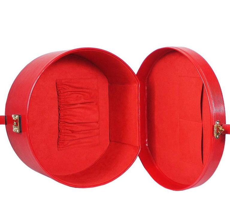 Louis Vuitton Red Epi Boite Chapeaux Hat Box 40 Rare 9