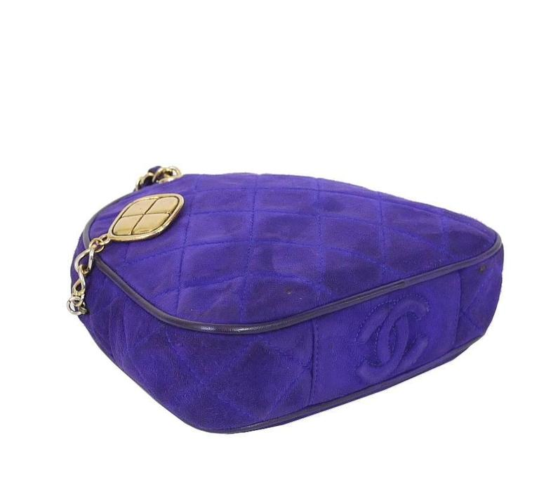 Vintage Chanel Purple Suede Evening Bag, Wristlet 4