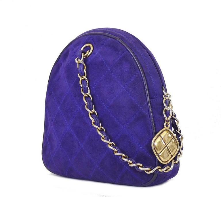 Vintage Chanel Purple Suede Evening Bag, Wristlet 10