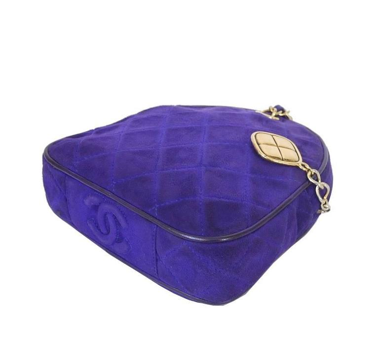 Vintage Chanel Purple Suede Evening Bag, Wristlet 5