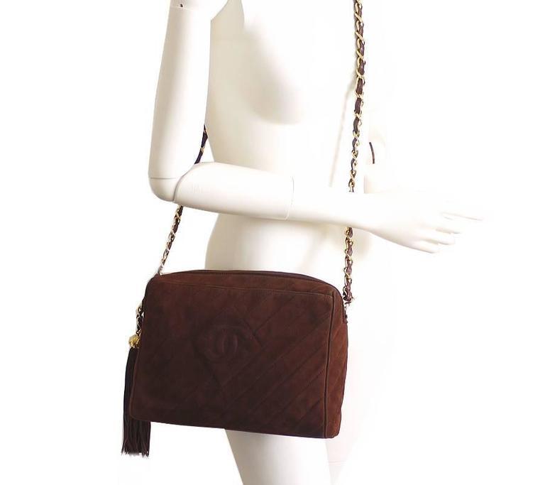 Vintage Chanel Cross Body Tassel Shoulder Bag For Sale 5