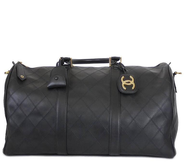 Chanel Black Lambskin Flat Quilt Boston Duffle Bag Vintage 2
