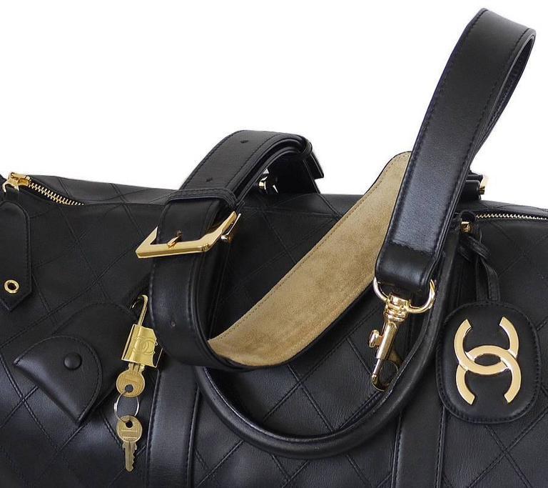 Chanel Black Lambskin Flat Quilt Boston Duffle Bag Vintage 7