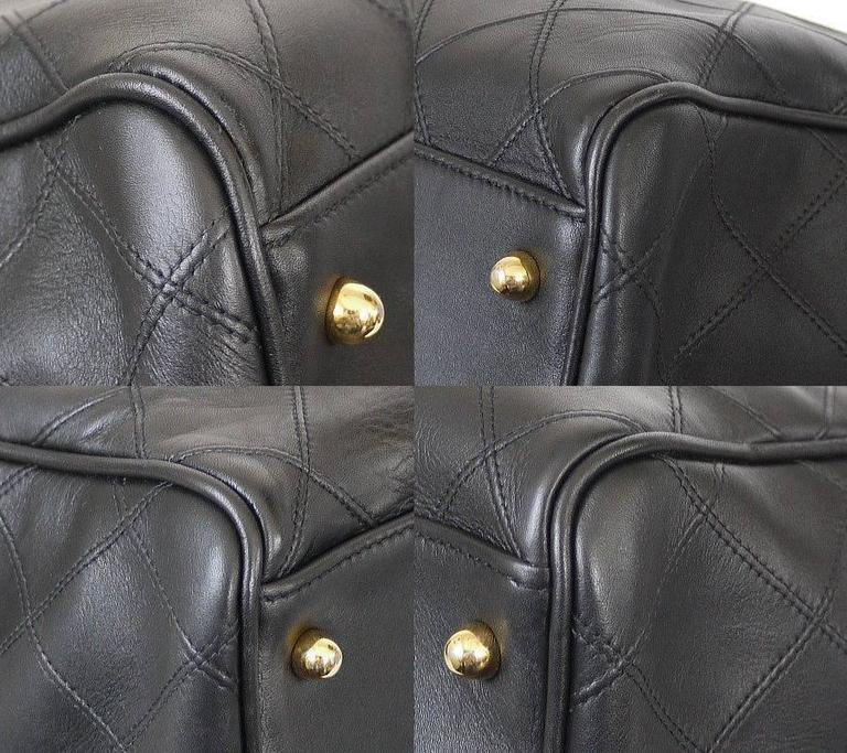 Chanel Black Lambskin Flat Quilt Boston Duffle Bag Vintage 6