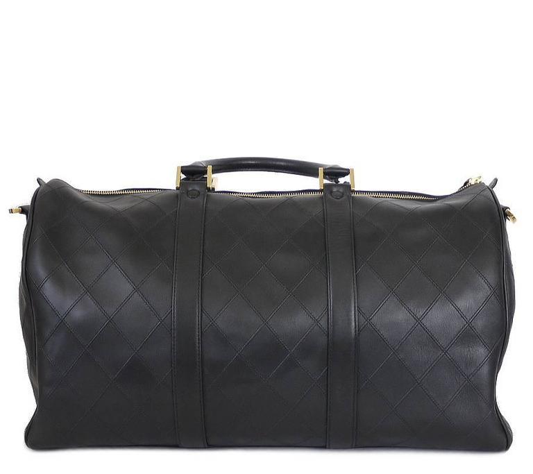 Chanel Black Lambskin Flat Quilt Boston Duffle Bag Vintage 3