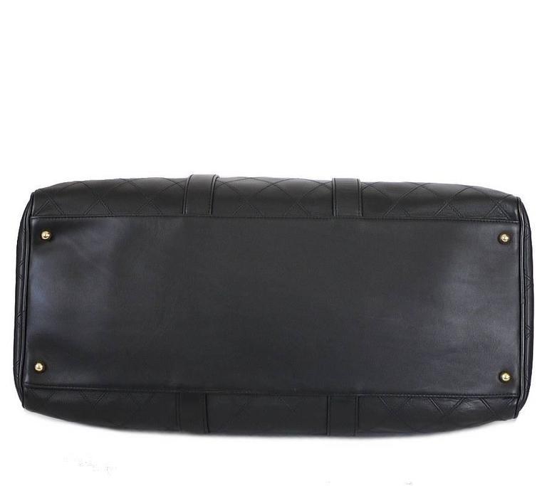 Chanel Black Lambskin Flat Quilt Boston Duffle Bag Vintage 5