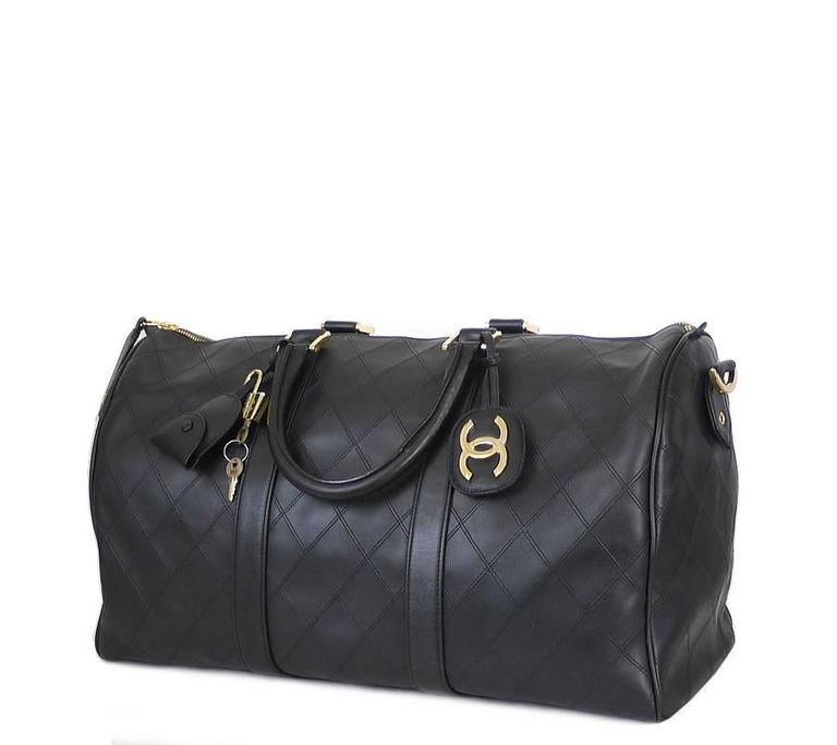 Chanel Black Lambskin Flat Quilt Boston Duffle Bag Vintage 4