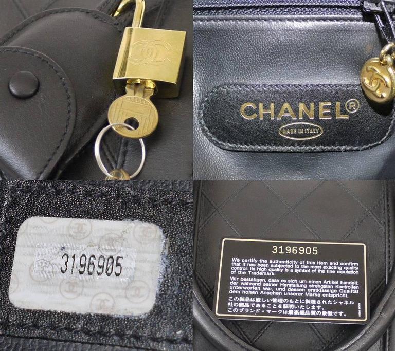 Chanel Black Lambskin Flat Quilt Boston Duffle Bag Vintage 8