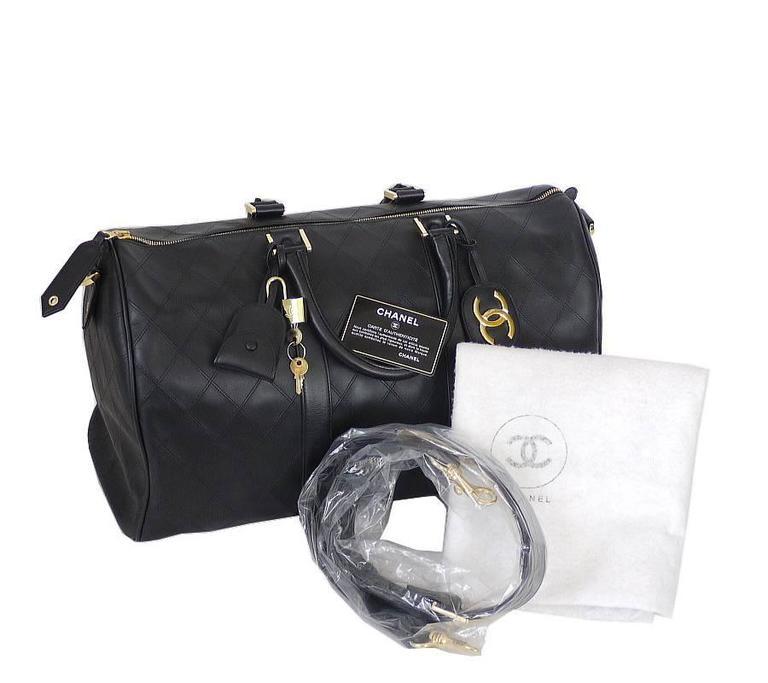 Chanel Black Lambskin Flat Quilt Boston Duffle Bag Vintage 10
