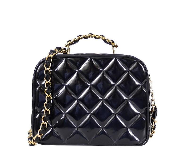 Chanel Black Patent 2way Lunch Box Crossbody Bag Rare For Sale 6