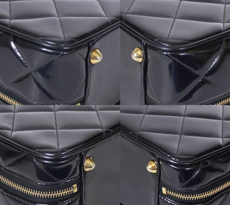 Chanel Black Patent 2way Lunch Box Crossbody Bag Rare For Sale 1