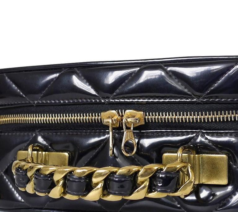 Chanel Black Patent 2way Lunch Box Crossbody Bag Rare For Sale 2