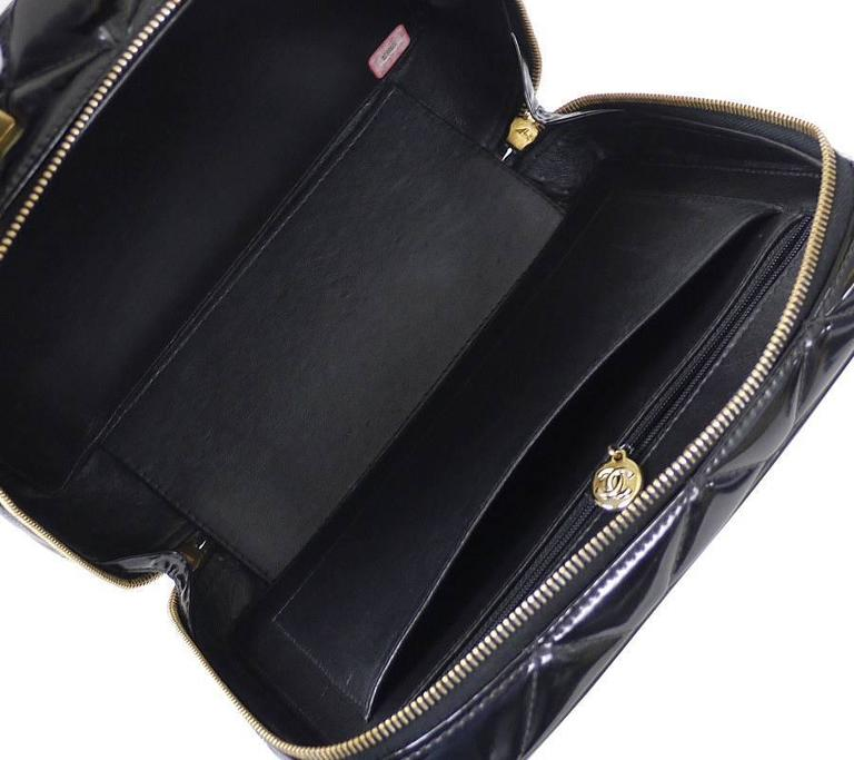 Chanel Black Patent 2way Lunch Box Crossbody Bag Rare For Sale 4