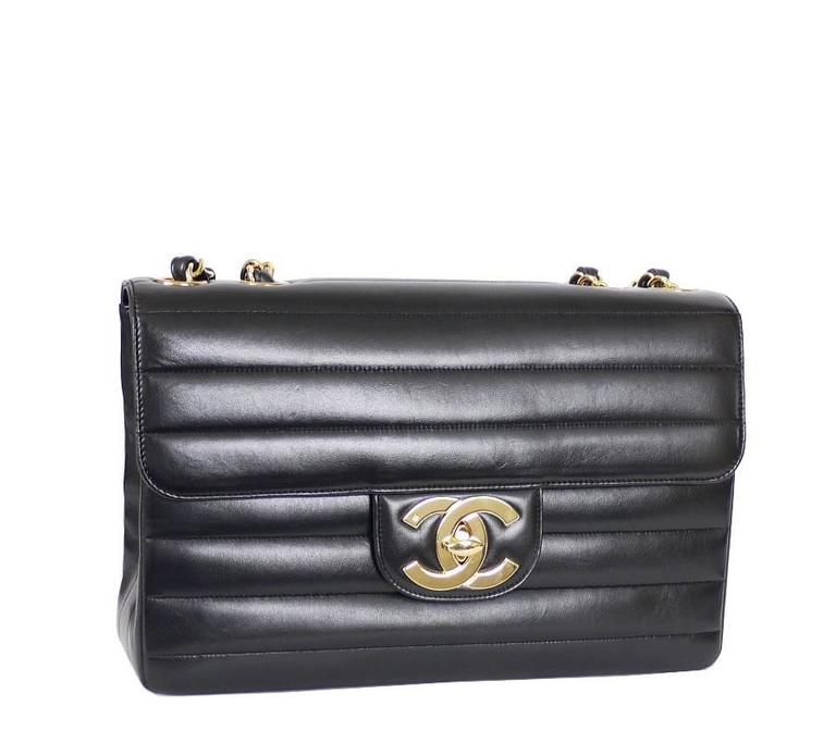 Chanel Black Lamb Skin Jumbo Classic Flap Bag Rare 2