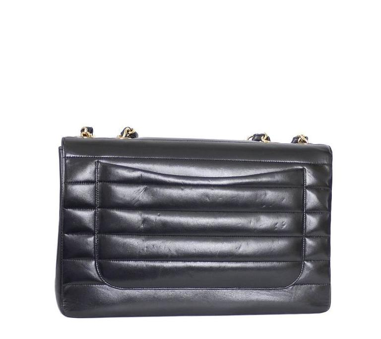 Chanel Black Lamb Skin Jumbo Classic Flap Bag Rare In Excellent Condition For Sale In Hiroshima City, JP