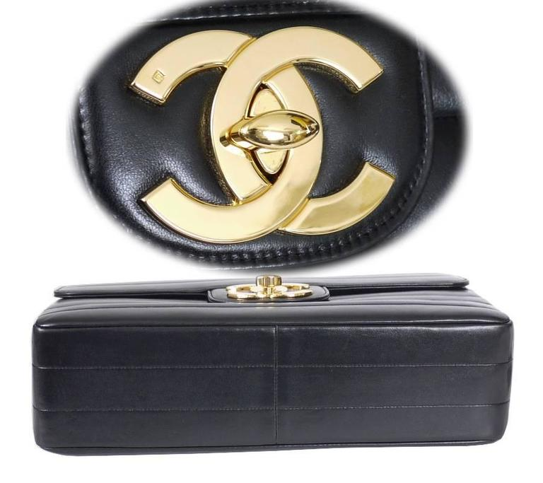 Chanel Black Lamb Skin Jumbo Classic Flap Bag Rare 4