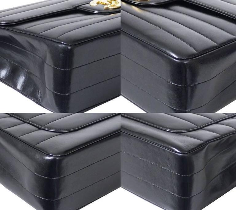 Chanel Black Lamb Skin Jumbo Classic Flap Bag Rare For Sale 1