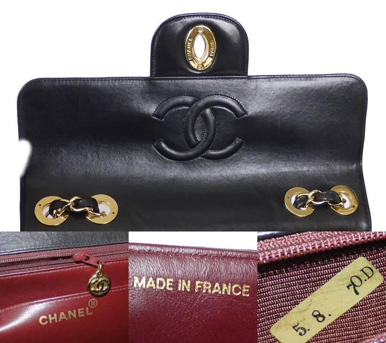 Chanel Black Lamb Skin Jumbo Classic Flap Bag Rare For Sale 3