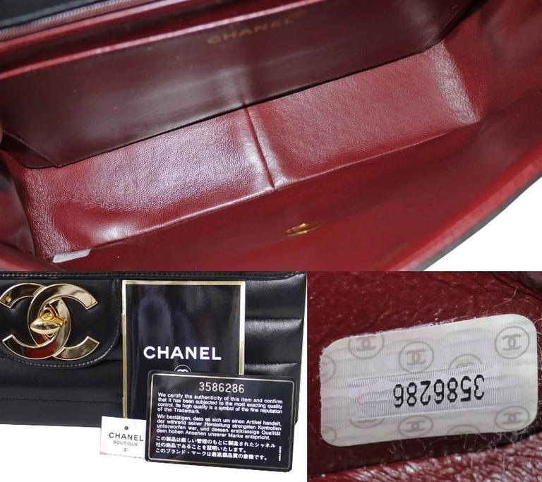 Chanel Black Lamb Skin Jumbo Classic Flap Bag Rare 8