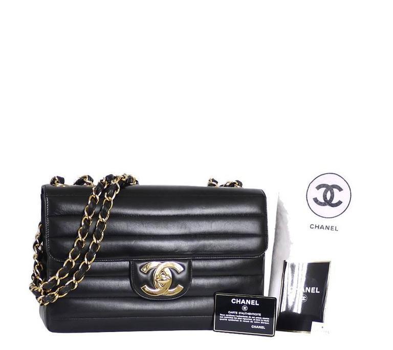Chanel Black Lamb Skin Jumbo Classic Flap Bag Rare For Sale 5