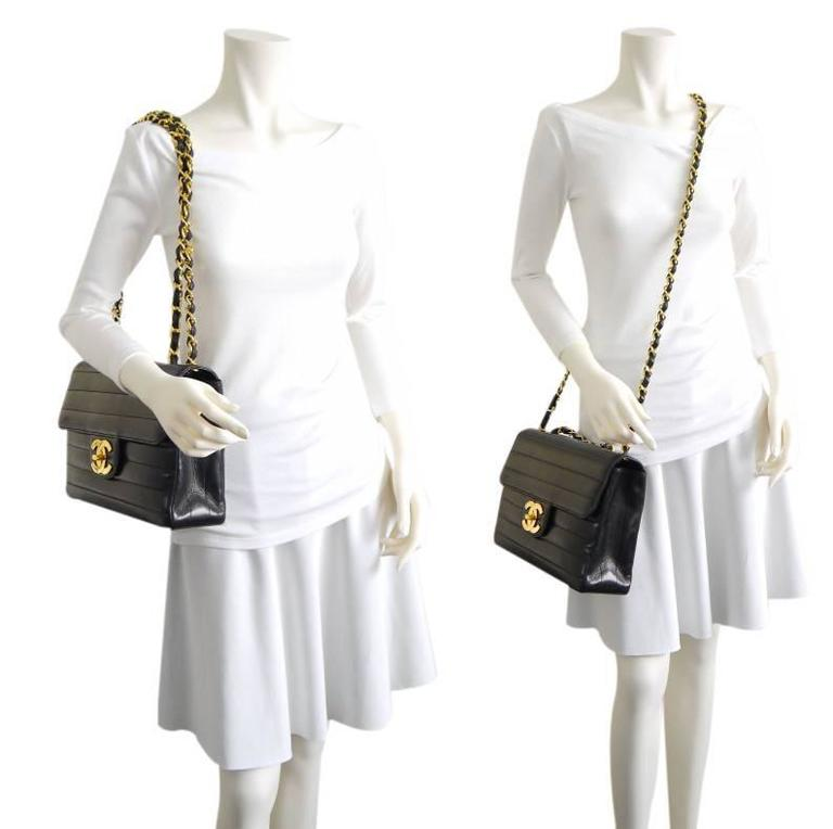 Chanel Black Lamb Skin Jumbo Classic Flap Bag Rare For Sale 6