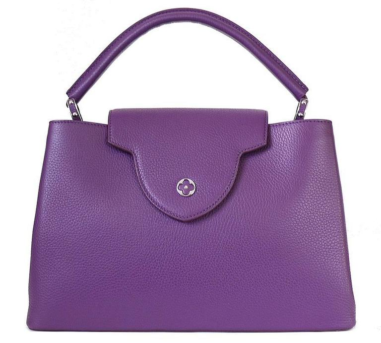 Purple Louis Vuitton Capucines MM Handbag Tote Violet For Sale