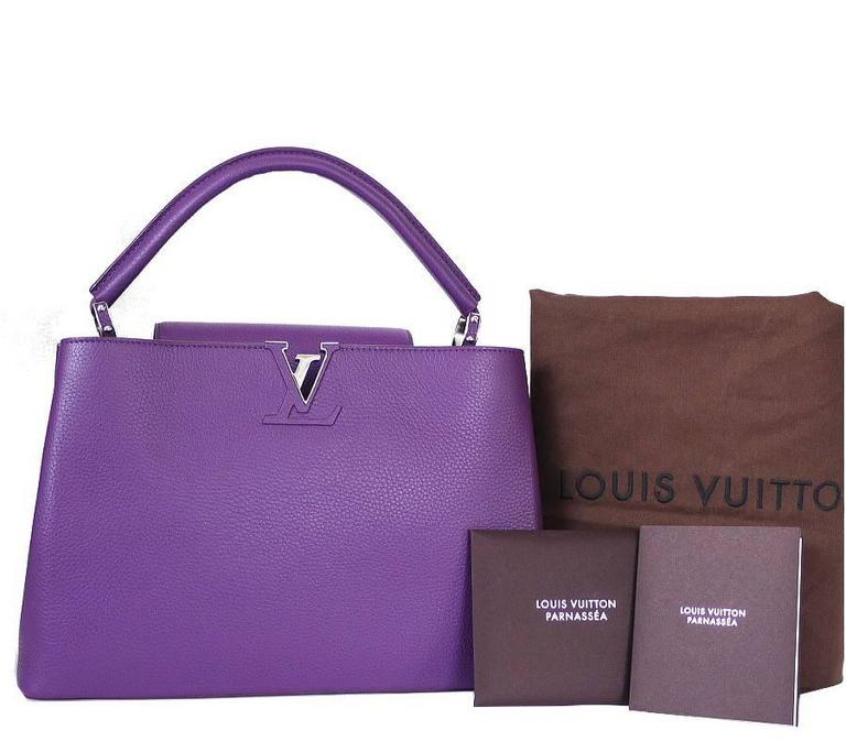 Louis Vuitton Capucines MM Handbag Tote Violet For Sale 5