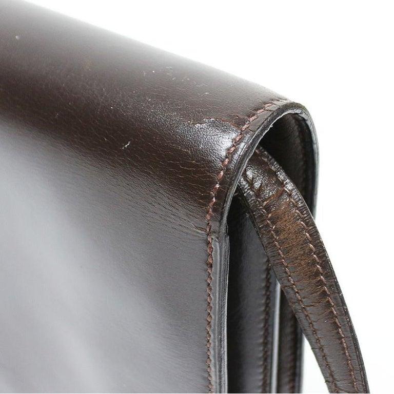 Hermes Brown Box Calf Annie 2way Shoulder Clutch Bag 1970s For Sale 1