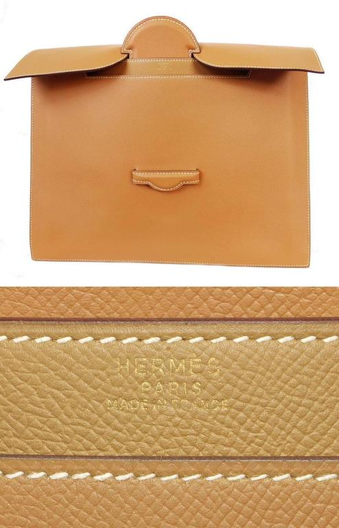 1980s Hermes Over-sized Clutch Bag Gold Vintage  For Sale 4