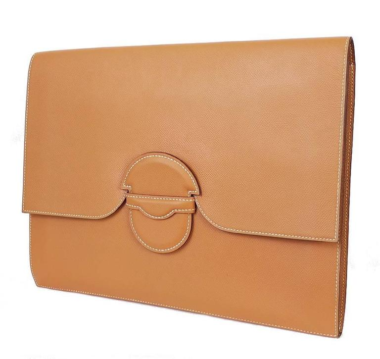 1980s Hermes Over-sized Clutch Bag Gold Vintage  For Sale 5