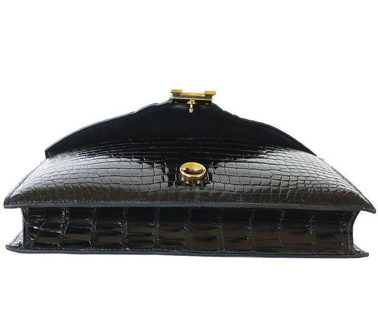 1970s Hermes Black Crocodile Porosus Lisse Lydie 2way Shoulder Rare In Excellent Condition For Sale In Hiroshima City, JP