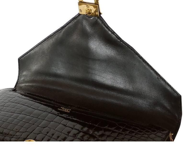1970s Hermes Black Crocodile Porosus Lisse Lydie 2way Shoulder Rare For Sale 1