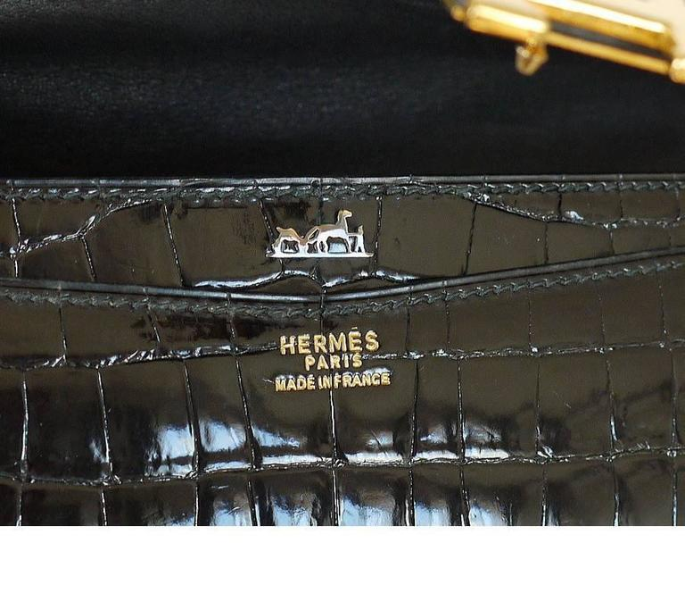 1970s Hermes Black Crocodile Porosus Lisse Lydie 2way Shoulder Rare For Sale 2