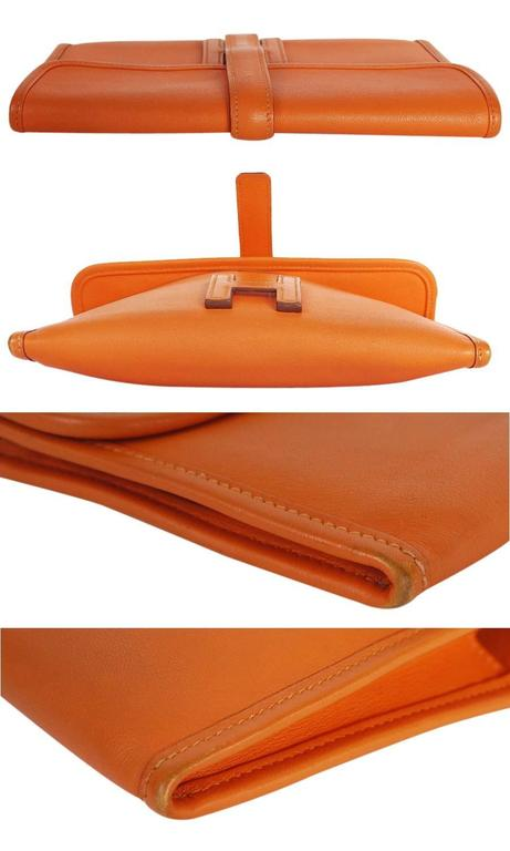 Hermes Jige Duo Clutch Bag With Zippy, Orange Swift Leather 4