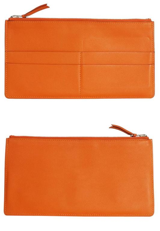 Hermes Jige Duo Clutch Bag With Zippy, Orange Swift Leather For Sale 3
