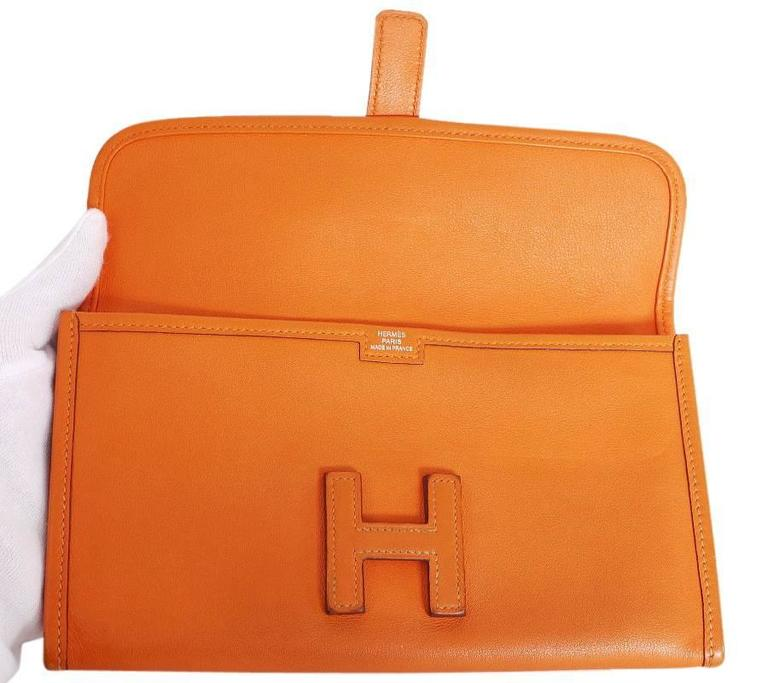 Hermes Jige Duo Clutch Bag With Zippy, Orange Swift Leather For Sale 1