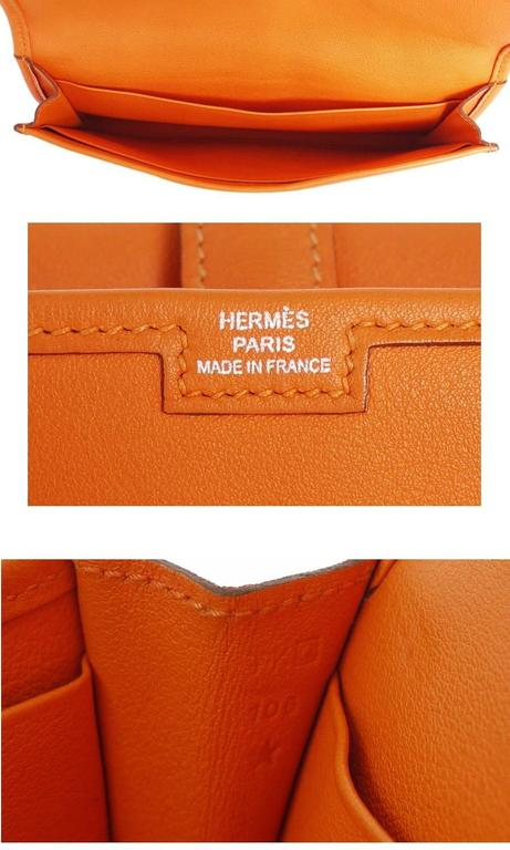 Hermes Jige Duo Clutch Bag With Zippy, Orange Swift Leather For Sale 2
