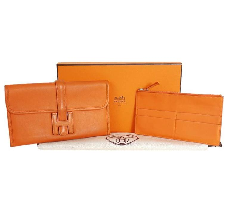Hermes Jige Duo Clutch Bag With Zippy, Orange Swift Leather For Sale 4
