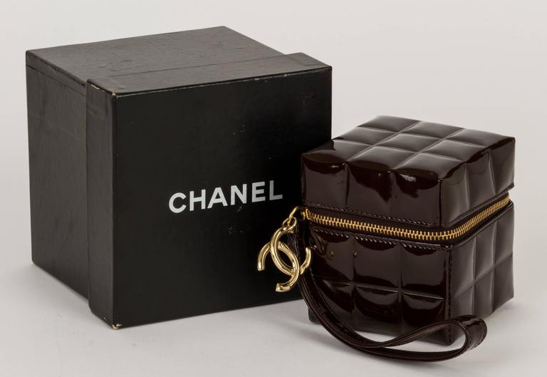 Chanel Dark Brown Patent Cube Evening Bag 2