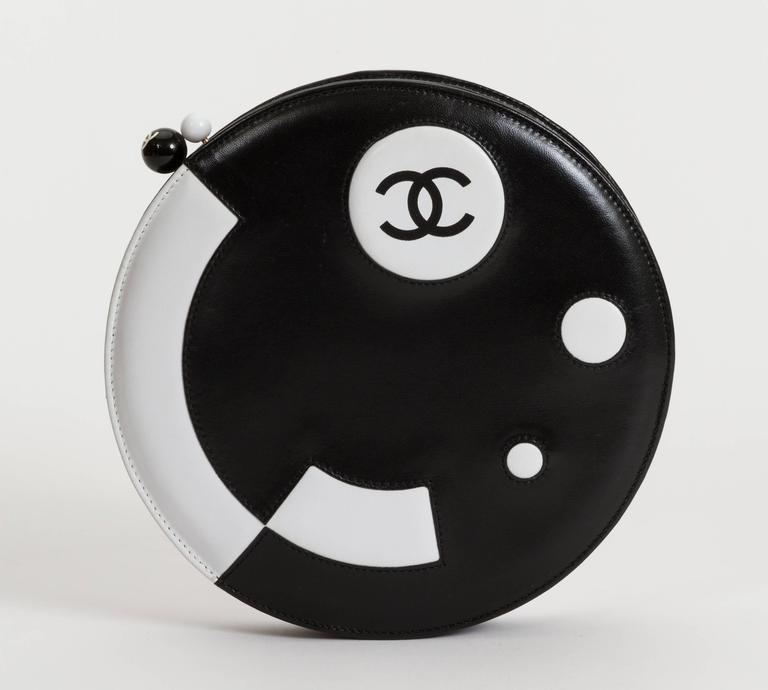 Chanel Black and White Rare Round Chain Bag 2