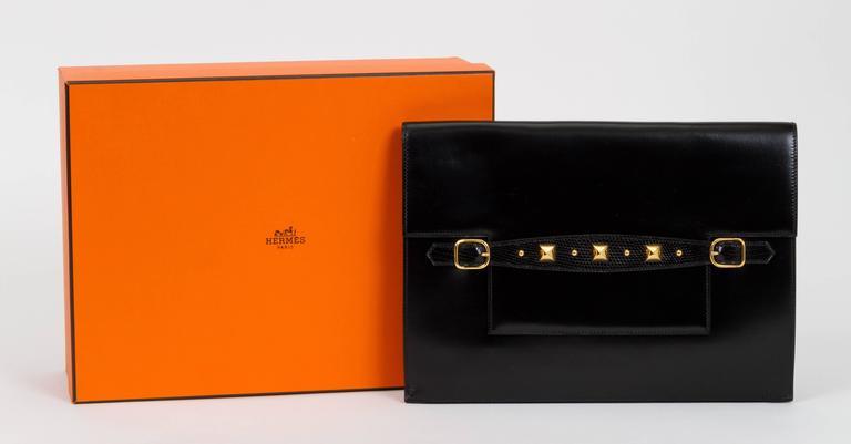 1984 Hermès Black Box Calf & Lizard Clutch Bag 2