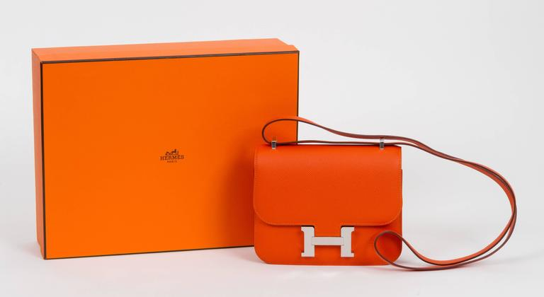 Hermès feu epsom mini constance cross body with palladium hardware. Brand new in box. Handle drop 11