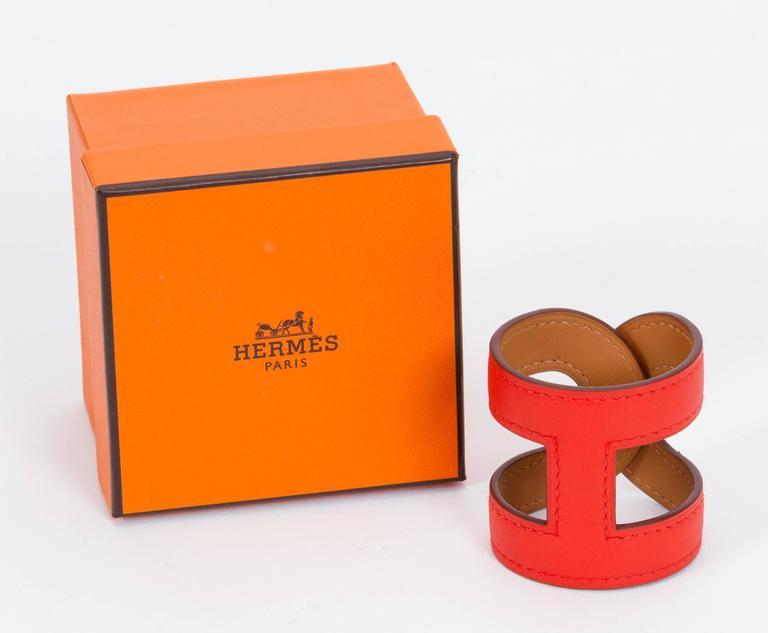 Hermès Capucine Stretch Leather Cuff Bracelet 2