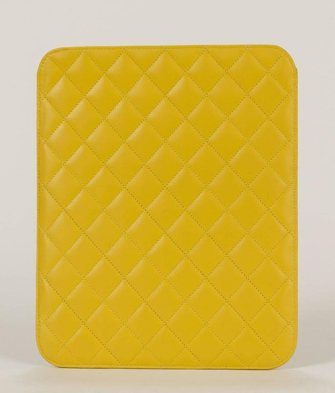 890d17e9f139 New in Box Chanel Yellow Quilted Leather Ipad Case In New Condition For Sale  In West
