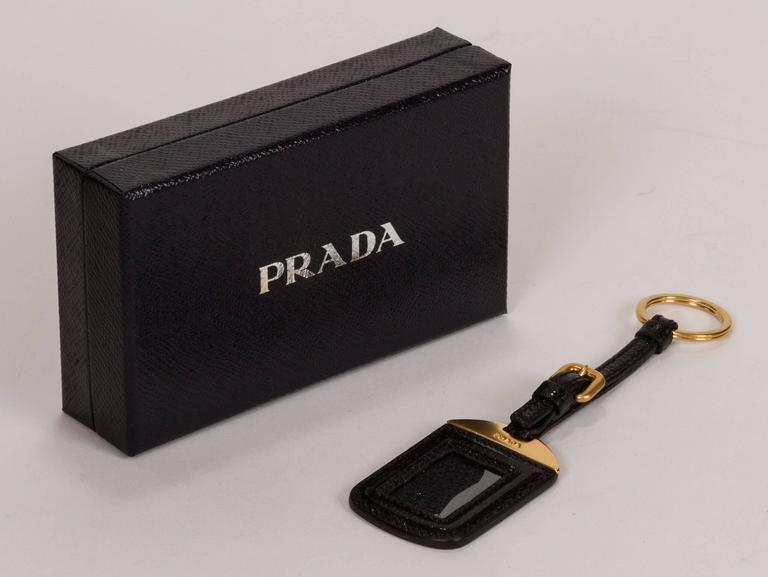 Women's or Men's Prada Black Glossy Keychain/Nametag For Sale