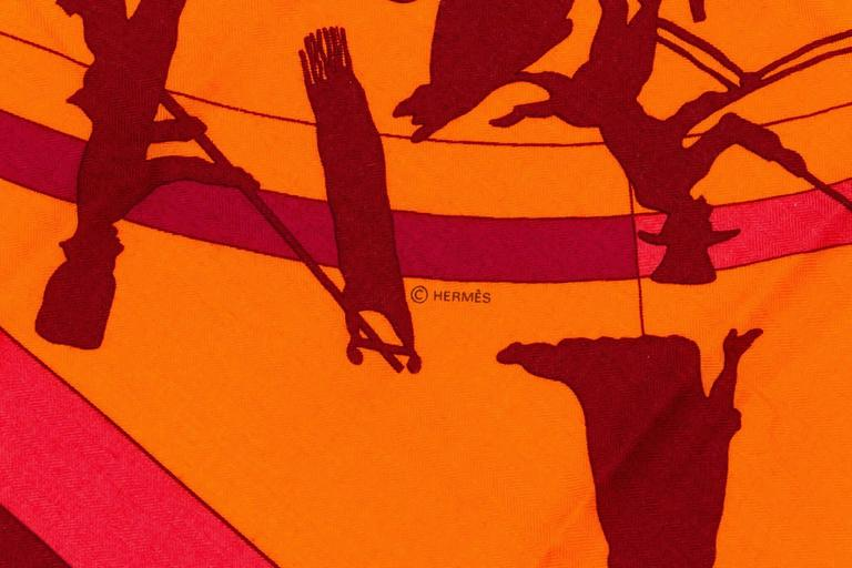 Red Hermes Cashmere Silk Jeux D'Ombres Shawl Scarf For Sale