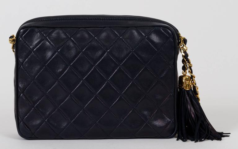 35d516254c0c Black Chanel Navy Lambskin Quilted Tassel Camera Bag For Sale