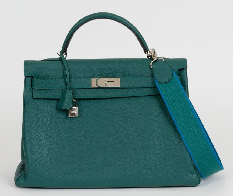 Blue Hermès Malachite & Palladium Kelly Bag For Sale