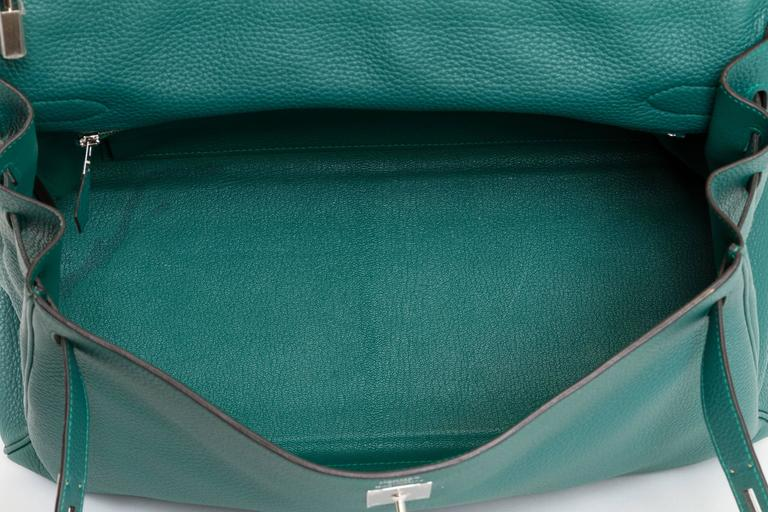 Hermès Malachite & Palladium Kelly Bag For Sale 4