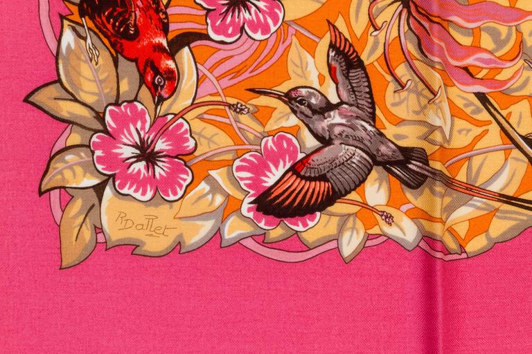 "Hermès oversize silk cashmere 55"" square shawl featuring coveted artist R. Dallet's ""Jungle Love"" print. Comes with the original box, tissue, and ribbon."